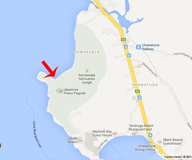 Unawatuna beach map
